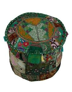 Embroidered ottoman puff Indian Green Vintage cotton patch work footstool cover