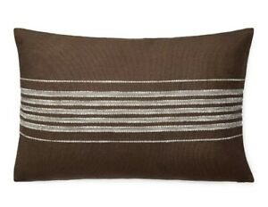 "RALPH LAUREN Mason Stripe 16""x24"" Decorative Throw Pillow Cotton Brown"
