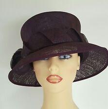 Ladies Wedding Hat Races Mother Bride Ascot Aubergine Purple By Anne Hanna