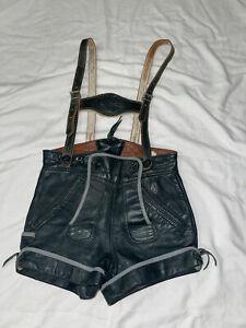 Authentic Vintage German Lederhosen Shorts Green Suede Childs Size 3/110 Suspend