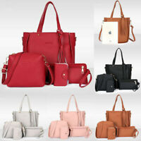 4PCS Women Lady Leather Shoulder Bag Handbag Satchel Clutch Coin Purse Bag Set