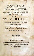 Libro Corona di Dodici Novene per Prepararsi Devotamente Feste SS. Vergine 1793