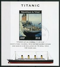 Chad 2018 CTO Titanic 1v M/S Boats Ships Nautical Stamps