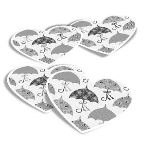 4x Heart Stickers - BW - Umbrellas England Weather Rain  #35175
