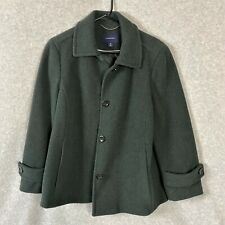 Lands End Womens Wool Coat Jacket Button Up Green Size 12