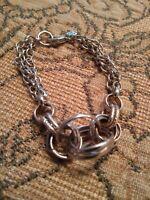 Signed BR Banana Republic Vintage Silver Tone 3 chain trendy fashion Bracelet jj