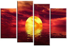 LARGE ABSTRACT SEASCAPE SUNSET SEA RED CANVAS WALL ART PICTURE 4 PANEL 100cm