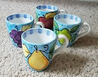 "Vietri RABBIT IN THE ORCHARD Multi-motif Fruit design 4"" Mugs Set(s) of 4  NEW!!"