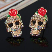 Betsey Johnson Red Rose Flower Gold Multi-Color AB Crystal Skull Stud Earrings