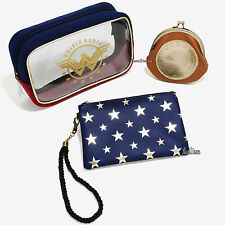 DC Comics Wonder Woman Cosmetic Make-Up Tote Bag 3 Set Big Medium Coin Purse NEW