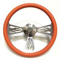 """Billet Flame 14"""" Orange Steering Wheel Set for Boats, Includes Horn + Adapter"""
