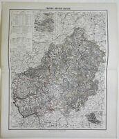 Hesse Nassau Kassel German Empire Belle Epoque 1874 Flemming detailed large map
