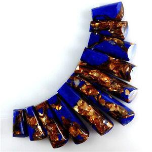 11pcs Pretty Lapis Lazuli & Gold Copper Bornite stone Pendant Bead MJT37RL