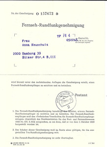 Fernseh - Rundfunkgenehmigung, Postamt Hamburg 7, Nr. O 157672, gut erhalten