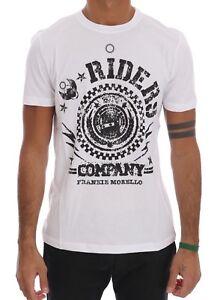NEW $110 FRANKIE MORELLO T-shirt White Cotton RIDERS Crewneck Short Sleeve s. XL
