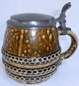 Bierkrug mit Zinndeckel, markiert: 3772 RM D made in West.Germ.,ca.H14 cm, 500 g