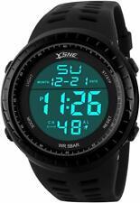 SNE Men's Digital Big Face Waterproof Electronic LED Sport Wrist Watch Black SK1