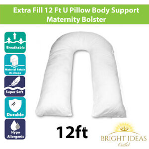 Maternity Pregnancy Pillow Support U Body Bolster 12 Ft Foot Size Luxury