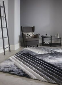 Verge Grey Silver Lattice Design Deep Pile Hand Carved 3D Rug in various sizes