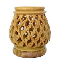 Hand Carved Stone tealight Candle Holder Lamp Amazing Light Reflect jaali work