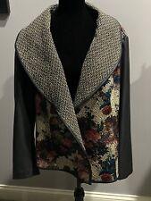 Women's 3x Baccini Open Front Floral, Black Sleeves, Black/Tan Tweed Jacket NWOT