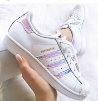 Adidas Superstar J White Hologram Iridescent GS & PS AQ6278 Girls Youth Women