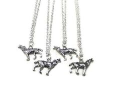 Silver Wolf Necklace Charm Animal Pendant Ladies Mens Boys Unisex Small Gift