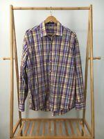 Alan Flusser Men's Plaid Multi-Colored Button Front Long Sleeve Shirt Size XL