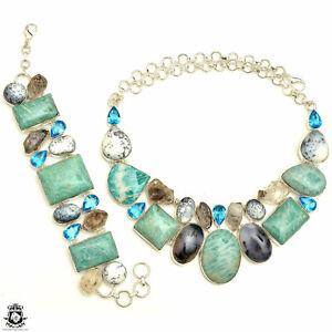 Australian Amazonite Dendritic Opal Herkimer Diamond Necklace Bracelet SET992