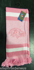 "NWT NFL 2012 PINK TEAM STRIPE ACRYLIC SCARF 64""x7"" - BALTIMORE RAVENS"