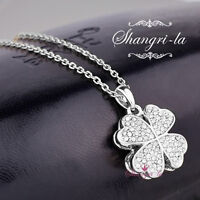 18K White GOLD Plated FOUR LEAF CLOVER NECKLACE with Swarovski CRYSTAL SP258