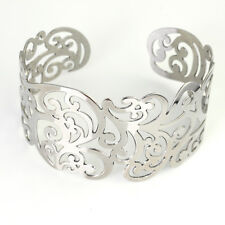 Flower Open Bangle For Women Bracelet Silver Tone Stainless Steel Hollow out