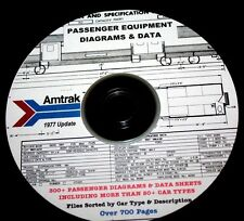 Amtrak 1977 Passenger Car Diagrams & Data by Car Type PDF Pages  DVD