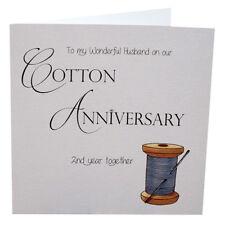 2nd Cotton Anniversary Card Husband Luxury Handmade  148mm sq. 300gsm