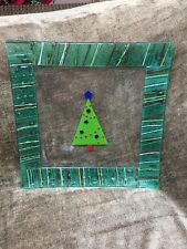 """Gorham Fused Art Glass Christmas Tree Platter Serving Plate 14"""" With Tags"""