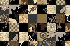 Quilt Gate Hyakka Ryoran Neko Cat Squares HR3110Y-13E w/Gold Metallic BTY
