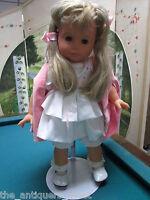 """Gotz Doll Poupee white dress pink cape 22"""""""