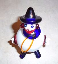 """Murano Glass Round Clown with Hat (6"""") Blue, Red, White, and Orange"""