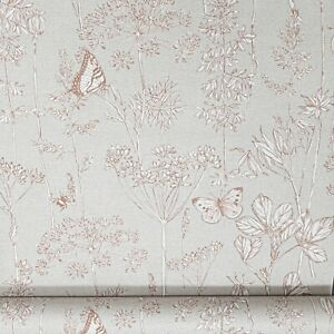 Arthouse Meadow Floral Rust Orange Grey b Linen Effect Country Wallpaper 904401