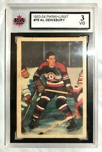 1953-54 PARKHURST NHL HOCKEY CARD #78 AL DEWSBURY BLACKHAWKS KSA 3 VG 1953/54