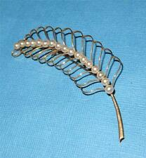 c1950 Retro 14k Gold Pearl Feather Pin Brooch Hallmarked Japan 14K Maker's Mark