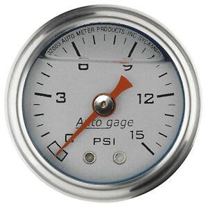 Autometer Auto Gage Fuel Pressure Gauge Liquid Filled 0-15PSI 1-1/2in Silver