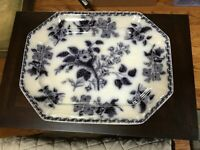 ANTIQUE Platter- Moss Rose -Staffordshire Transferware?