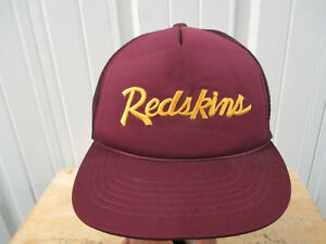VINTAGE GIR WASHINGTON REDSKINS SCRIPTED SEWN TRUCKER MESH HAT CAP 80s