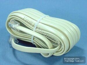 Leviton Ivory 15' Phone Extension Cord Line 6-Wire RJ11 RJ14 RJ25 C2613-15I