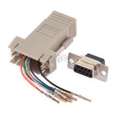 DB9 Female to RJ45 Female F/F RS232 Modular Adapter Converter Extender