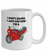 Motorcycle Coffee Mug, Funny Novelty 15oz White Ceramic Tea Cup For Snorers