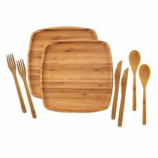 """Camping Mess Kit Organic 10"""" x 10"""" Bamboo Plates Forks Knifes Spoons 2 Sets"""