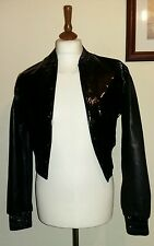 Calvin Klein Collection Baseball Leather  jacket Black Size  Small uk 10 eu 38