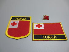 Set of  Embroidery Flag Patch and Badge shield Patch and Lapel pin TONGA